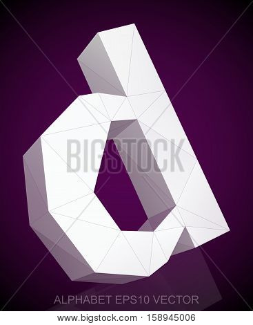 Abstract White 3D polygonal lowercase letter D with reflection. Low poly alphabet collection. EPS 10 vector illustration.