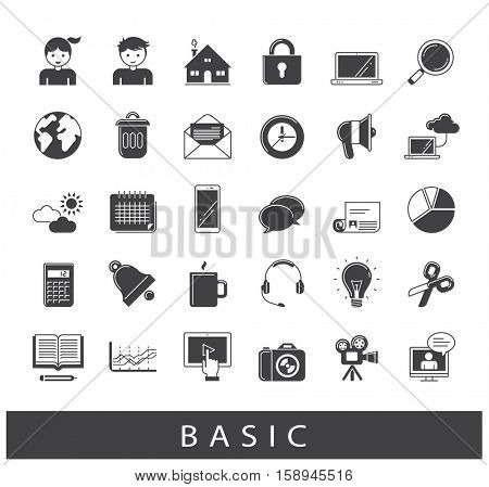 Collection of universal icons. Icons for web and mobile applications.