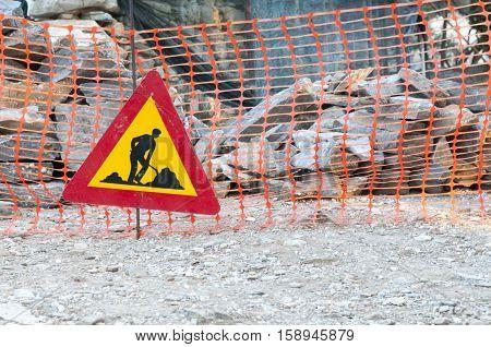 construction site metal sign, greece, imitos mountain