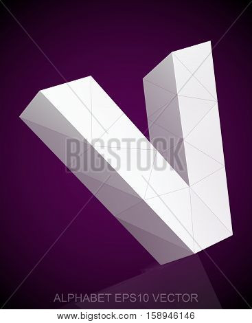 Abstract White 3D polygonal lowercase letter V with reflection. Low poly alphabet collection. EPS 10 vector illustration.