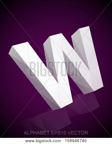 Abstract White 3D polygonal uppercase letter W with reflection. Low poly alphabet collection. EPS 10 vector illustration.