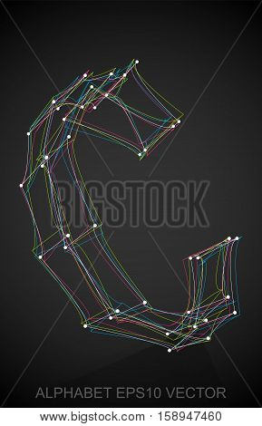 Abstract illustration of a Multicolor sketched uppercase letter C with Reflection. Hand drawn 3D C for your design. EPS 10 vector illustration.