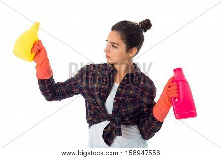 lovely maid woman with cleansers isolated on white background
