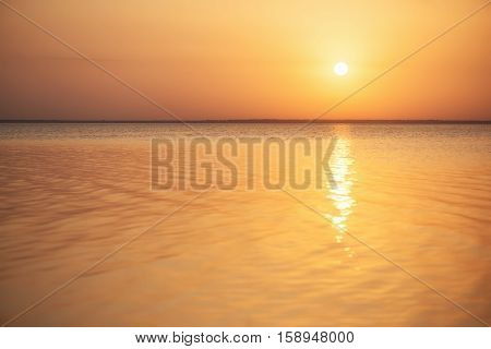 Seascape during sundown. Beautiful natural composition in the summer time