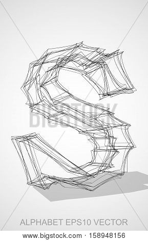 Abstract illustration of a Ink sketched S with Transparent Shadow. Hand drawn 3D S for your design. EPS 10 vector illustration.