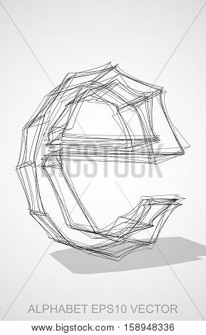 Abstract illustration of a Ink sketched lowercase letter E with Transparent Shadow. Hand drawn 3D E for your design. EPS 10 vector illustration.