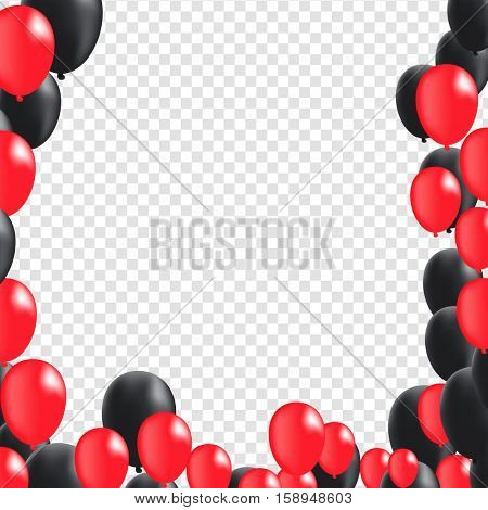 Black and Red Flying Balloons on Transparent Background | Vector Illustration