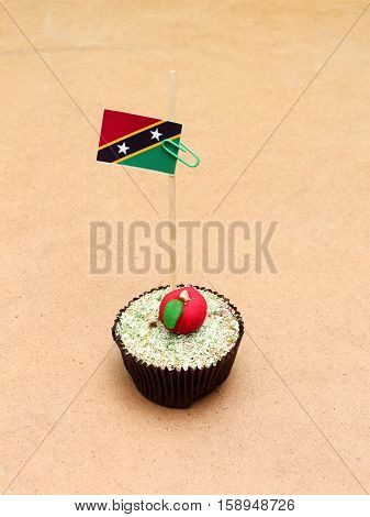picture of a flag on a apple cupcake st kitts and nevis