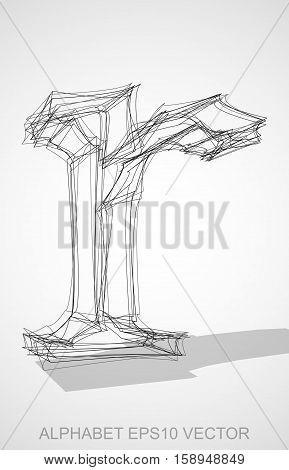 Abstract illustration of a Ink sketched lowercase letter R with Transparent Shadow. Hand drawn 3D R for your design. EPS 10 vector illustration.