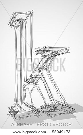 Abstract illustration of a Ink sketched lowercase letter K with Transparent Shadow. Hand drawn 3D K for your design. EPS 10 vector illustration.