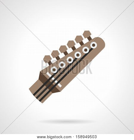 Brown head of guitar neck. Tuning stringed musical instruments. Preparation guitar to playing song, correcting distorted sound. Flat color style vector icon.