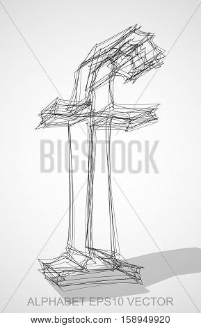 Abstract illustration of a Ink sketched lowercase letter F with Transparent Shadow. Hand drawn 3D F for your design. EPS 10 vector illustration.