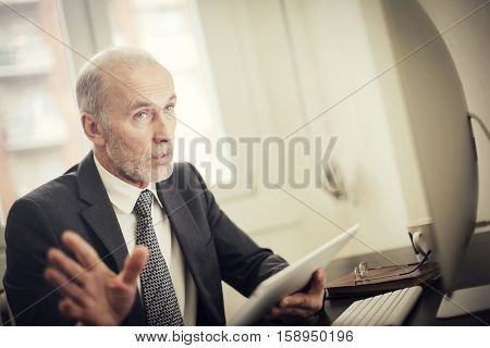 Man discussing business matters
