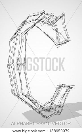 Abstract illustration of a Ink sketched uppercase letter C with Transparent Shadow. Hand drawn 3D C for your design. EPS 10 vector illustration.