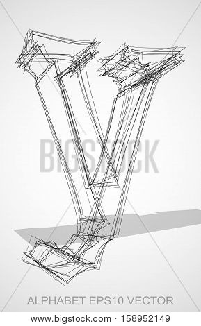 Abstract illustration of a Ink sketched lowercase letter Y with Transparent Shadow. Hand drawn 3D Y for your design. EPS 10 vector illustration.