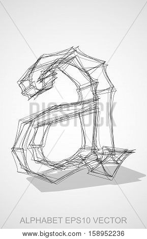 Abstract illustration of a Ink sketched lowercase letter A with Transparent Shadow. Hand drawn 3D A for your design. EPS 10 vector illustration.