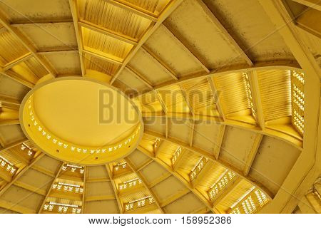 psar thmei old art deco style central market interior dome roof detail cooling vents in phnom penh cambodia