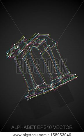Abstract illustration of a Multicolor sketched lowercase letter N with Reflection. Hand drawn 3D N for your design. EPS 10 vector illustration.