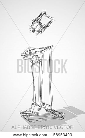 Abstract illustration of a Ink sketched lowercase letter I with Transparent Shadow. Hand drawn 3D I for your design. EPS 10 vector illustration.