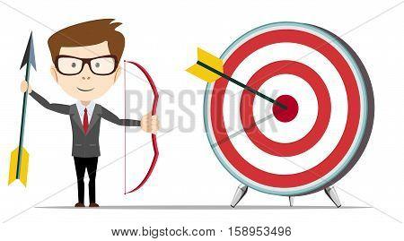 Businessman hit the target. Concept business vector illustration.