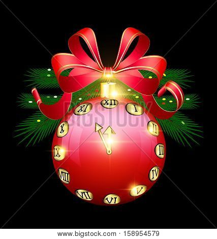 black background with the large red ball and abstract golden clock inside