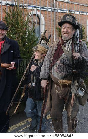 26TH NOVEMBER 2016,PORTSMOUTH DOCKYARD, ENGLAND : Unknown actors playing the parts of victorian chimney sweeps at the yearly Christmas victorian festival in portsmouth dockyard, November 26th, 2016