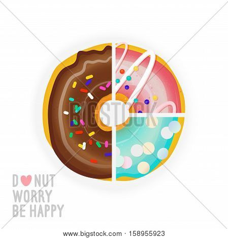 Vector illustration with diagram of the different flavors of donuts.