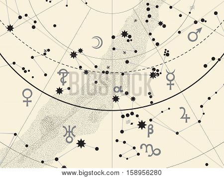 Fragment of Astronomical Celestial Atlas: Stars Heavens Planets. (Ancient Silver background EPS-8)