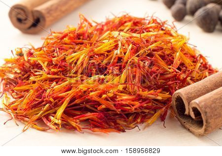Macro View On Fragrant Saffron Closeup