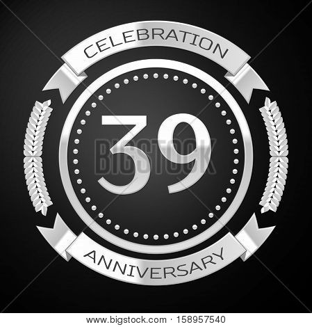 Thirty nine years anniversary celebration with silver ring and ribbon on black background. Vector illustration