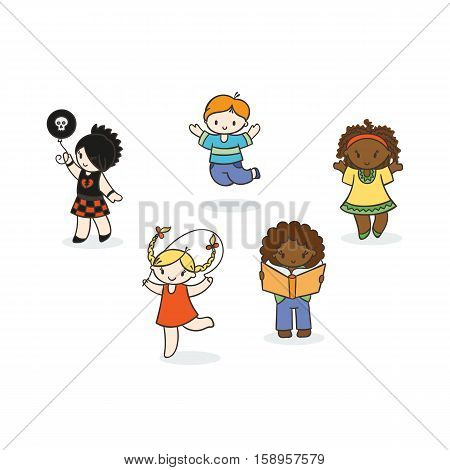 Set of cute doodle children. Kindergarten, camp, people collection.