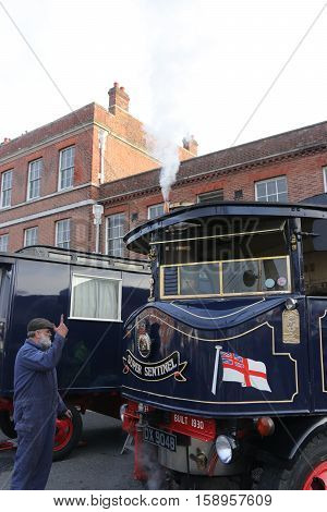26TH NOVEMBER 2016, PORTSMOUTH DOCKYARD,ENGLAND; A steam driven vehicle on show at the yearly Victorian Christmas festival in Portsmouth dockyard, England, 26th November 2016