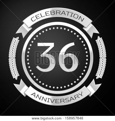Thirty six years anniversary celebration with silver ring and ribbon on black background. Vector illustration