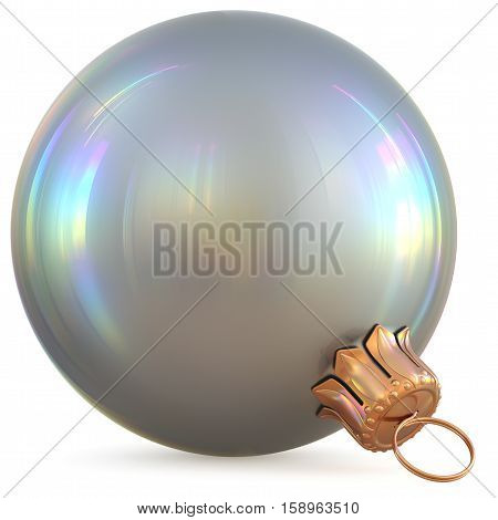 Christmas ball white silver New Year's Eve decoration chrome bauble wintertime hanging adornment souvenir. Traditional ornament happy winter holidays Happy Merry Xmas symbol metallic. 3d illustration