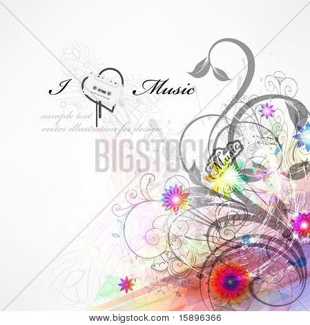 Handdrawn floral design elements. Spring music design. eps 10.