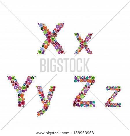 Alphabet With Flowery Letters X, Y, Z