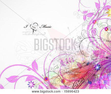 Handdrawn floral design elements. Spring music design. eps 10.