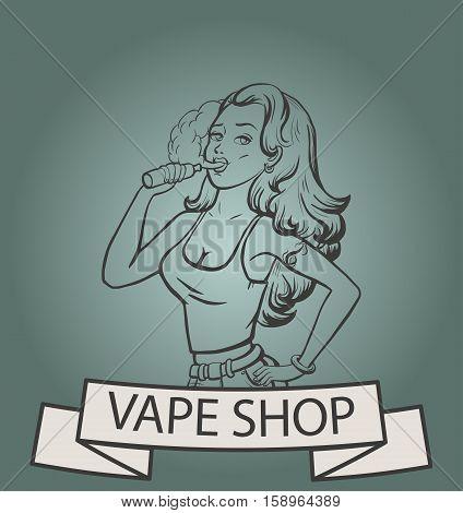 Vape shop logo. Beautiful girl with electronic cigarette. Vape shop banner concept. Vector illustration