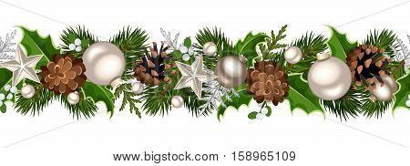 Vector Christmas horizontal seamless garland with fir-tree branches, silver balls, holly leaves, cones and mistletoe.