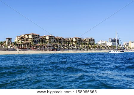 Azure water of Gulf of California (Sea of Cortez) and beautiful view of Medano Beach in Los Cabos, Cabo San Lucas, Baja California Sur, Mexico. Mexican riviera.