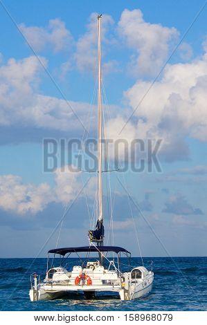 Catamaran sail ship on the Caribbean sea
