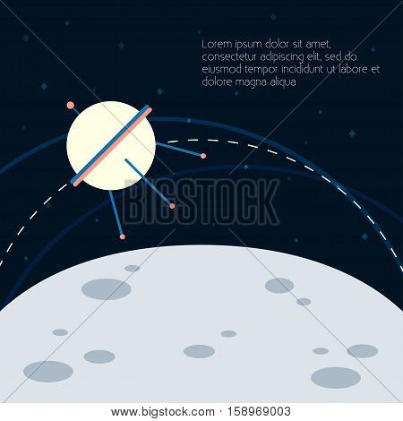 Astronaut Vector illustration Space satellite flying in an orbit near the moon Flat design