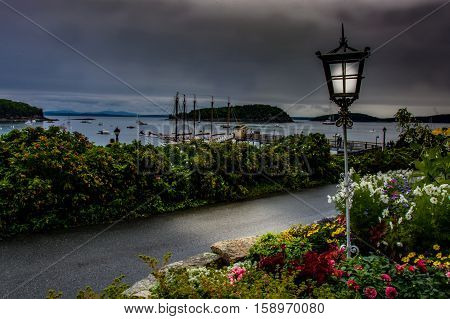 A landscape scene of Bar Harbor, Maine on a dark and gloomy day.