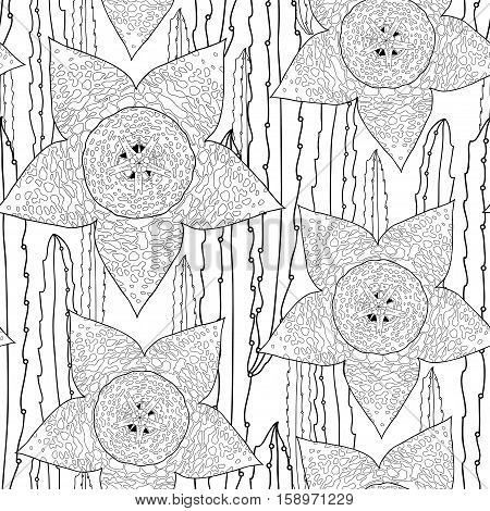 Vector seamless pattern with outline Stapelia flower and stems in black on the white background. Elegance floral background in contour style with succulents for summer design and coloring book.
