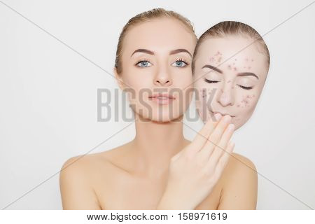 put away bad skin with pimples from face