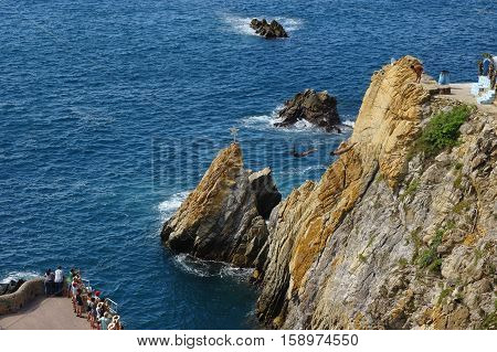 Cliff divers at La Quebrada cliffs in Acapulco, Mexico.