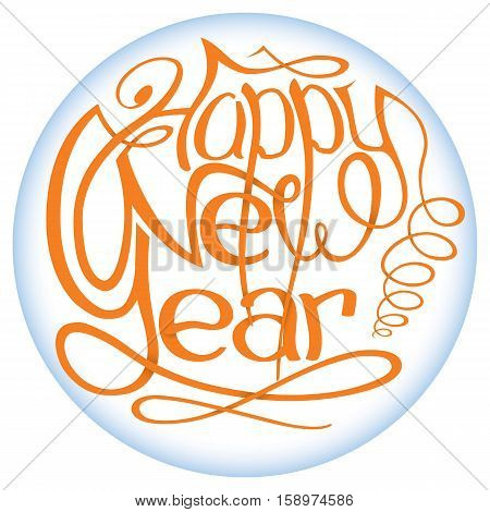 Happy New Year, lettering Greeting Card design circle text frame with shadows.Vector illustration.