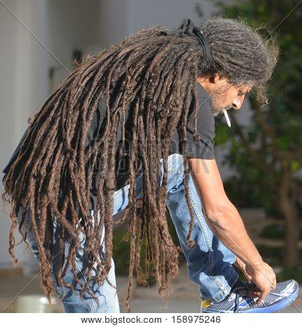 TEL AVIV ISRAEL 07 11 16: Rasta man is a man who belongs to the Rastafari movement, which originated in Jamaica. Rastas consider it a lifestyle and culture as well as a spiritual path.