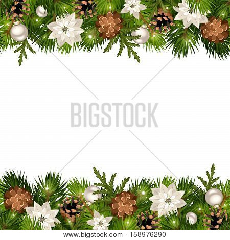 Vector Christmas horizontal seamless background with fir branches, cones, silver balls, poinsettia and lights.