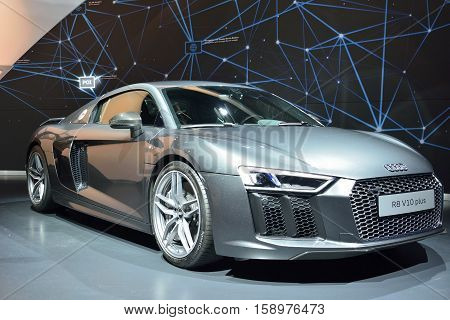 Wolfsburg, Germany - April 15, 2016. Audi R8 V10 Plus car on display at permanent Audi exhibition in Autostadt theme park in Wolfsburg.